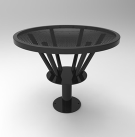 TB6017-C-R: Café table with round vertical base and table top supports