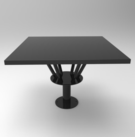 TB6017-C-SQ: Café table with square vertical base and table top supports