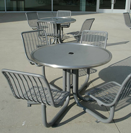 Piazza Series, PZPTB and PZPTBL-4-X, Picnic Table and Seating - Model PZPT-WC-SSS-4ADA-F-SS-PC