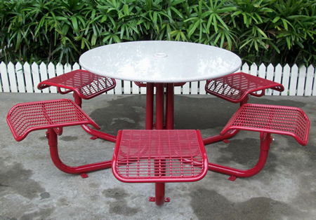 Piazza Picnic Table With Backless Seats, Perforated Steel Sheet Seat Pan,  Perforated Steel Sheet Tabletop, 3 Seat Unit, Surface Flanged Mount, ...