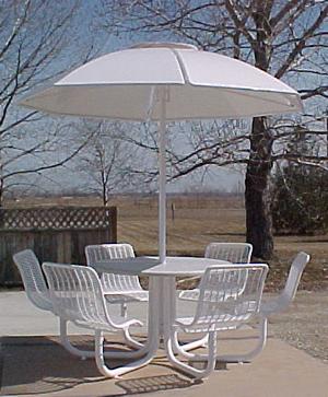 Piazza pzptb pzptbl round picnic tables - Aluminium picnic table with umbrella ...